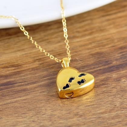 Gold Baby Feet Necklace, Cremation ..