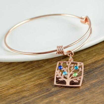 Rose Gold Family Tree Bracelet - Mo..
