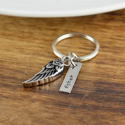 Angel Wing Keychain, Personalized M..