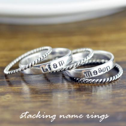 Rings with Names Sterling Silver, S..