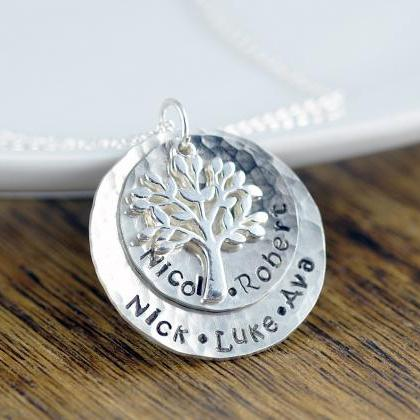 Silver Family Tree Necklace - Mothe..