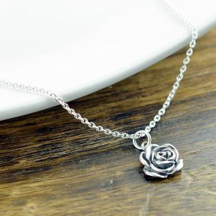 Sterling Silver Rose Necklace - Ros..