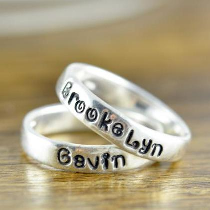 Stacking Rings, Hand Stamped Ring, ..