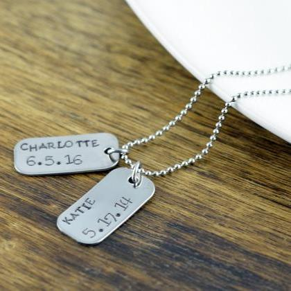 Personalized Mens Necklace, Dog Tag..