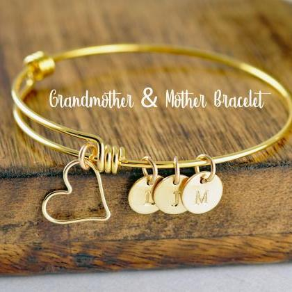 Gold Initial Bracelet, Mother's Bra..