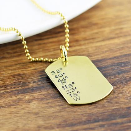 Mens Dog Tag Necklace, Hand Stamped..