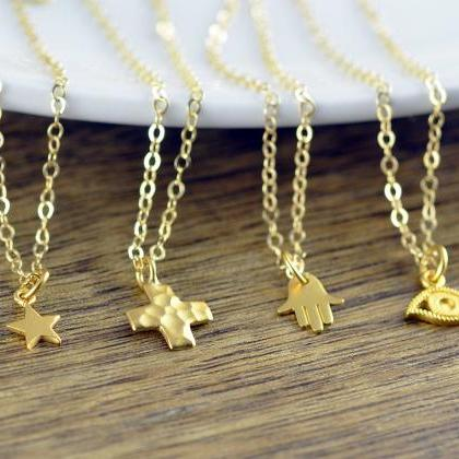 Gold Hammered Cross Necklace - Cros..