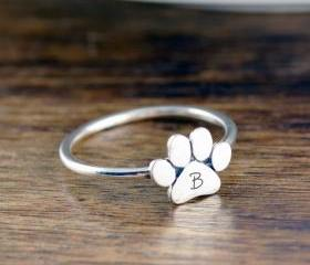 Dog Paw Initial Ring..