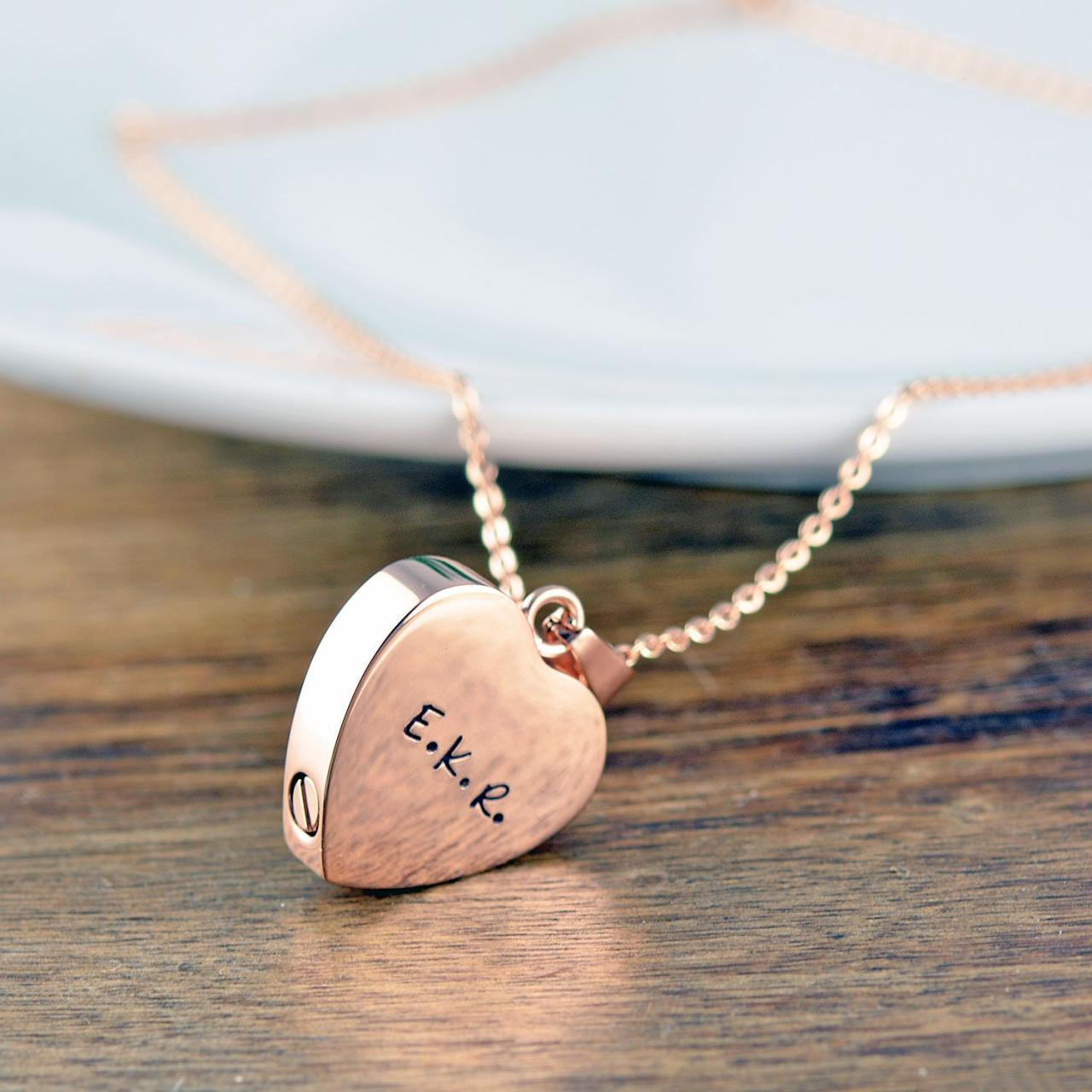 Rose Gold Heart, Personalized Cremation Jewelry, Ash Jewelry, Heart Cremation Pendant, Urn Necklace For Ashes, Cremation Necklace, Memorial