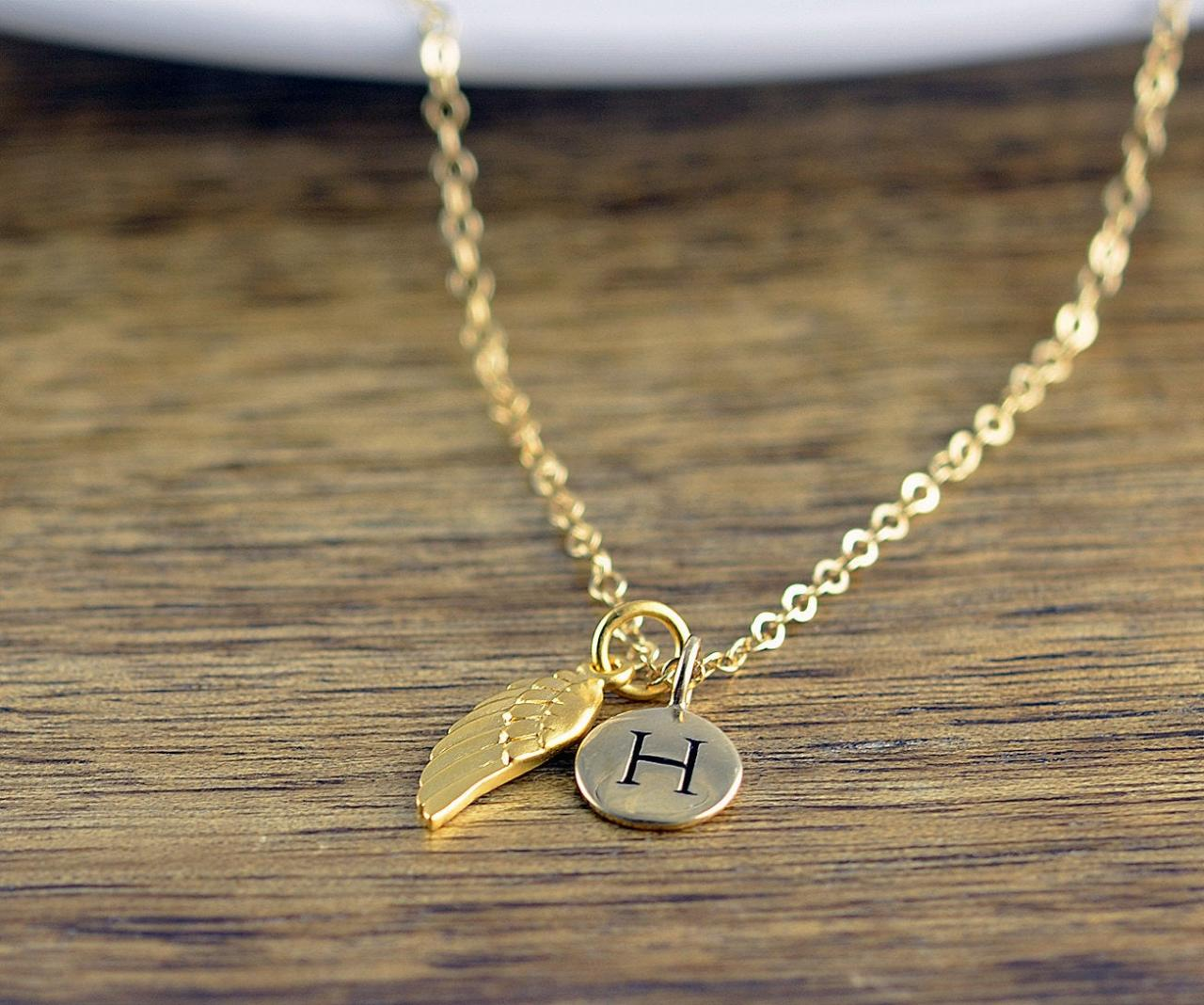 Personalized Wing Necklace - Remembrance Jewelry - Guardian Angel Wing Necklace - Initial Necklace - Infant Loss Necklace - Gold Necklace