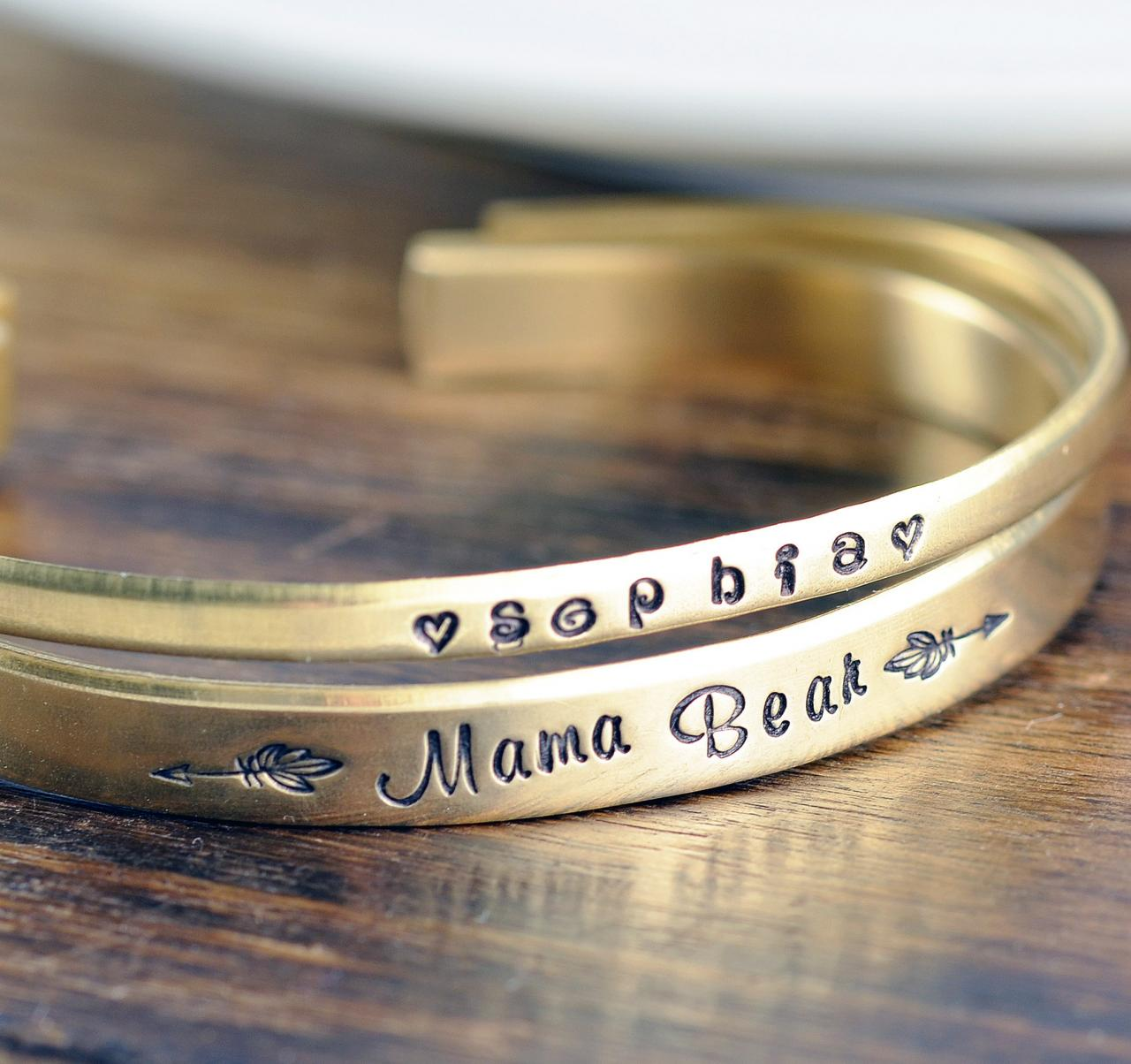 Mama Bear, Custom Cuff Bracelet, Personalized Cuff Bracelet, Mothers Bracelet, Mommy Jewelry, Kids Name Bracelet, Mothers Day Gift