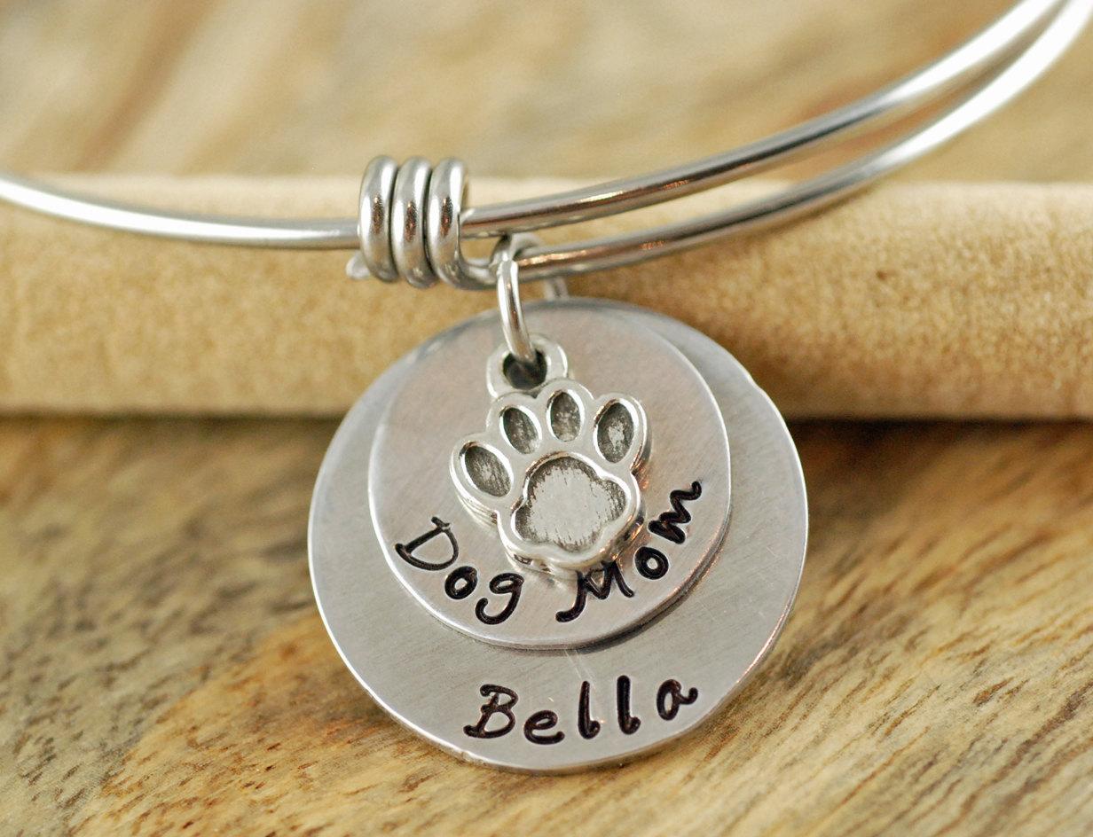personalized hand silver bangle her gift name lover and bracelet mom stamped charm animal bangles alex for ani inspired dog