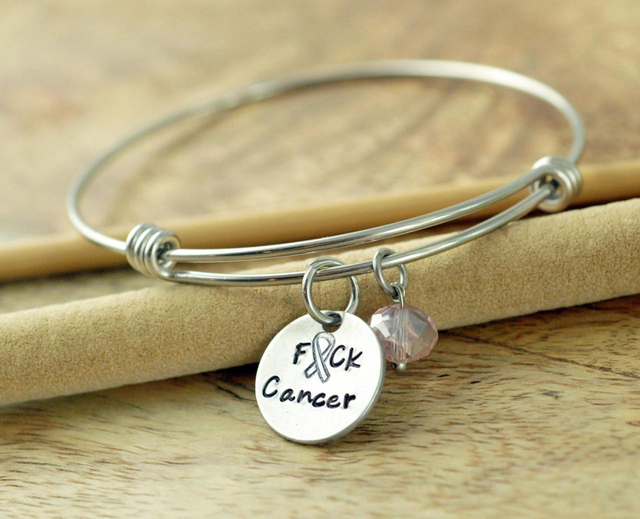 Personalized Hand Stamped Bangle Bracelet T Cancer Awareness Jewelry F Ck