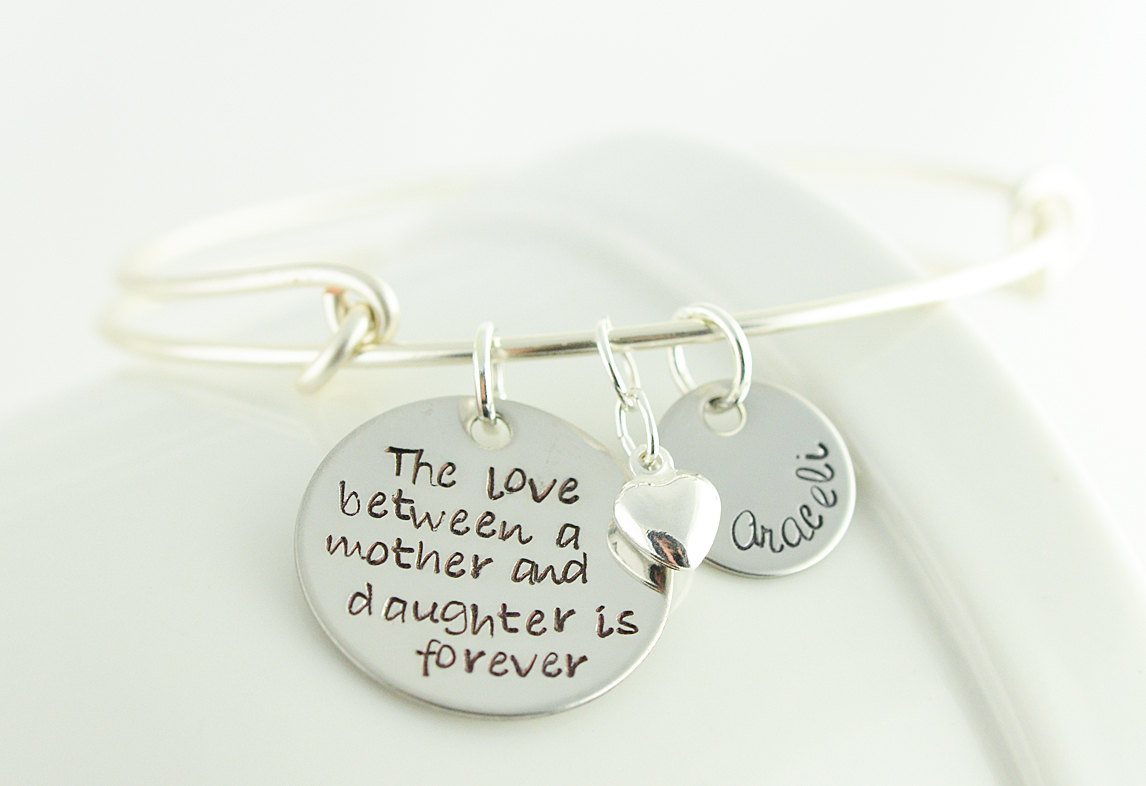 bracelet mother daughter il birthday mom bangle listing fullxfull heart gift from bangles set