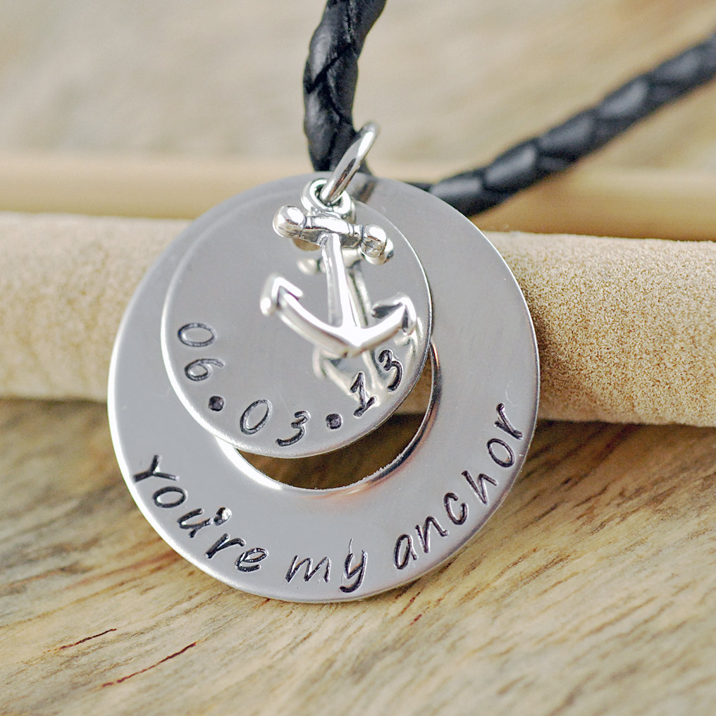 Mens Hand Stamped Necklace Mens Personalized Jewelry Washer
