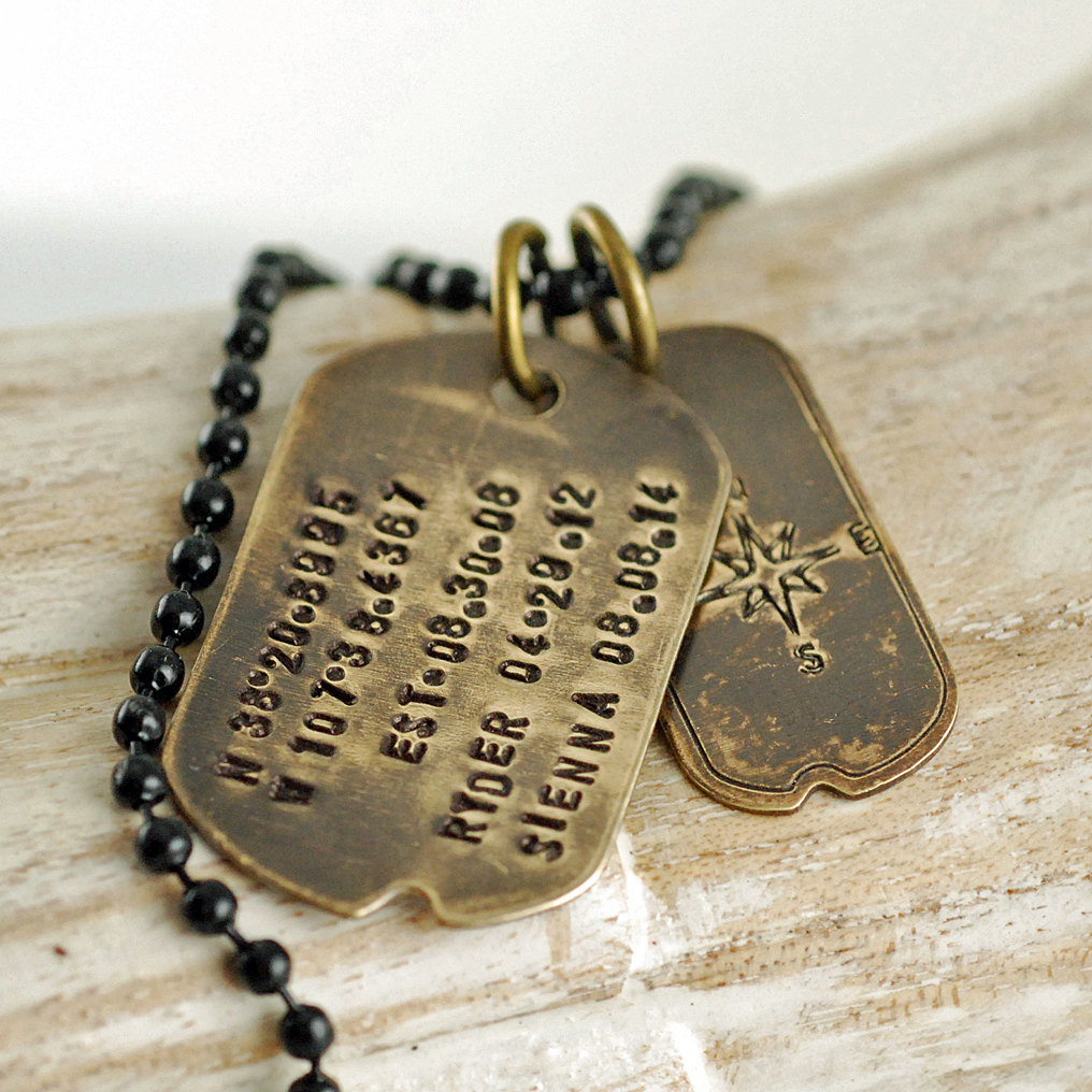 0bf8ed0a99c6 personalized vintage dog tag necklace, Hand Stamped dog tag necklace,  fathers day gift