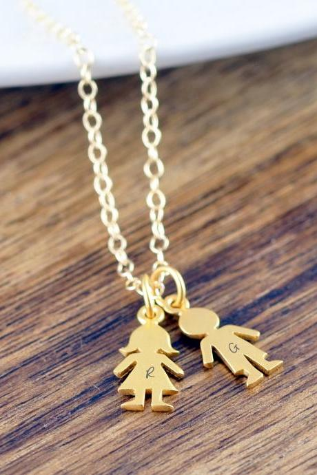 Personalized Gold Boy Charm, Girl Charm Pendant Necklace, Custom Engraved Names, New Mom Gift, New Mom, New Baby, Gift for Her
