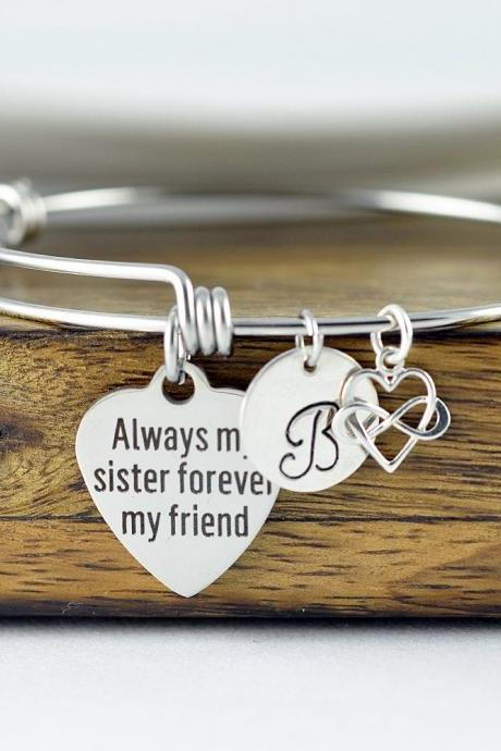 Always My Sister Forever My Friend, Gift for Sister, Sister Gift, Sister Bracelet, Personalized Bangle, Best Friend Jewelry, Birthday Gift