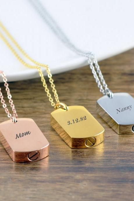 Personalized Dog Tag, Cremation Jewelry, Cremation Necklace, Cremation Keepsake, Gift for Men, Personalized Cremation Jewelry, Ash Jewelry