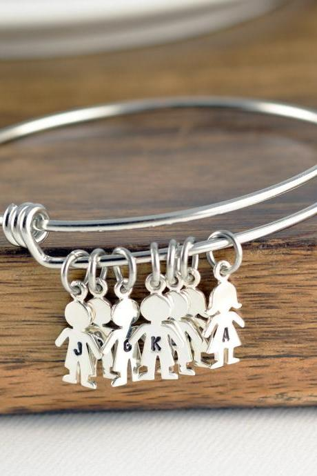 Personalized Silver Boy Charm Bracelet, Girl Charm , Custom Engraved Bracelet, New Mom Gift, Mother Bracelet, New Baby, Gift for Her