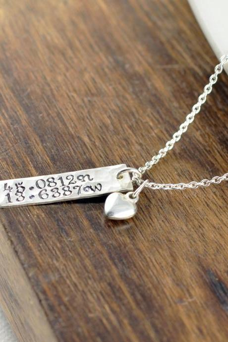 Womens Gift, Coordinate Necklace, Latitude Longitude Necklace, Custom Coordinates, Coordinate Jewelry, Hand Stamped Necklace, Compass Charm