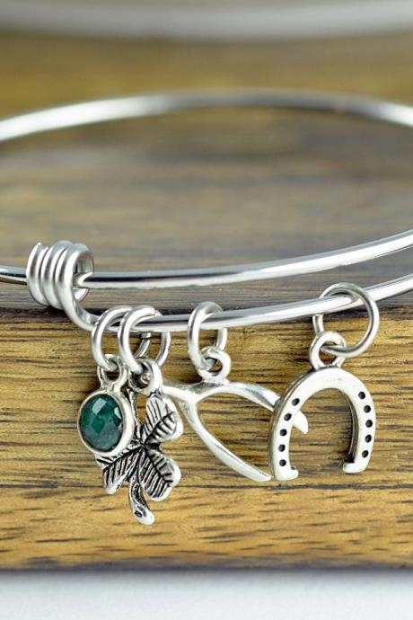 Lucky Charm Bracelet - Luck Bracelet - Four Leaf Clover Bracelet - Good Luck Charm - Good Luck Gift - Best Friend Gift - Wishbone Bracelet