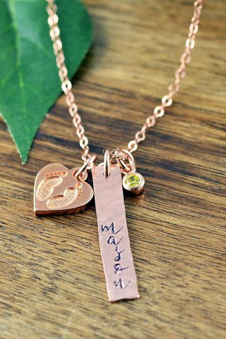 Rose Gold Baby Name Necklace, Mommy Necklace, New Mom Gift, Baby Birth Necklace, Mommy and Me, Personalized Baby Name Necklace