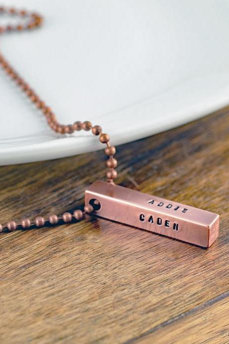 personalized copper necklace - copper bar necklace - gift for him - mens jewelry - men's bar necklace - copper anniversary - boyfriend gift