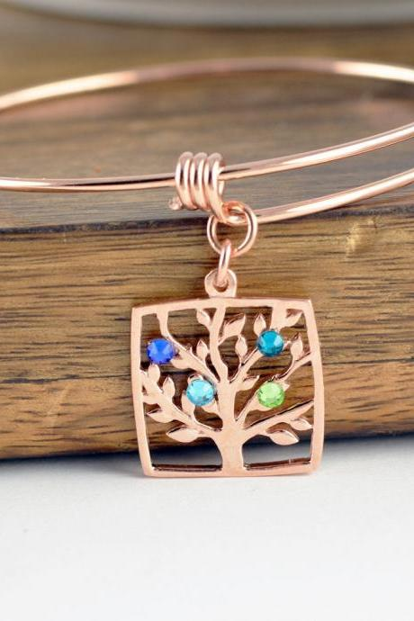 Rose Gold Family Tree Bracelet - Mother's Bracelet - Birthstone Bracelet - Birthstone Jewelry - Grandmother Bracelet - Mothers Day Gift