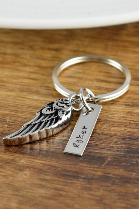Angel Wing Keychain, Personalized Memorial Keychain, Remembrance Jewelry, In Memory Of, Grief Gift, Sympathy Gift, Loss of Mother, Father
