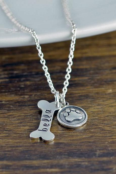 Dog Bone Necklace, Dog Bone Charm, Dog Mom Gift, Dog Paw Charm, Dog Charm Necklace, Dog Lover Necklace,Dog Lover Gift, Animal Lover Gift