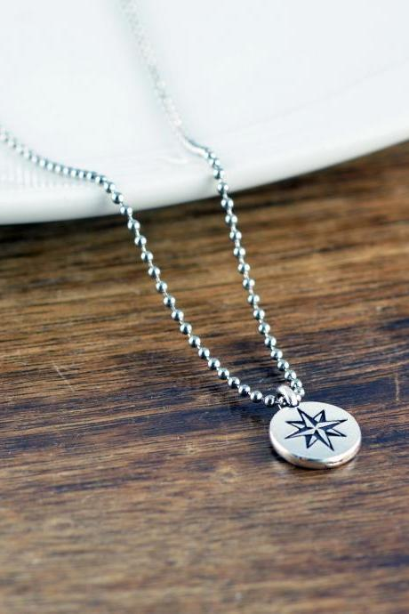 Necklace for Men, Men's Jewelry, Small Compass Necklace, Compass Pendant for Men, Compass Charm Necklace, Compass Necklace, Graduation Gift