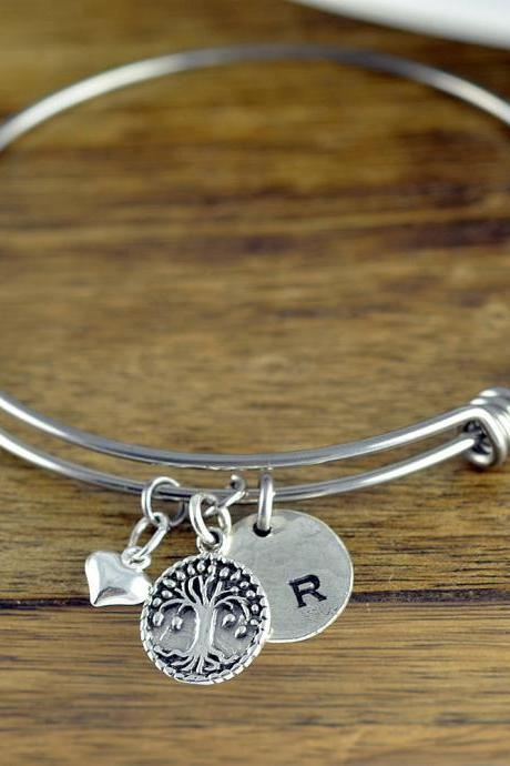 Family Tree Bracelet - Personalized Initial Bracelet - Personalized Hand Stamped Bracelet - Mothers Day Gift - Tree Of Life Bracelet