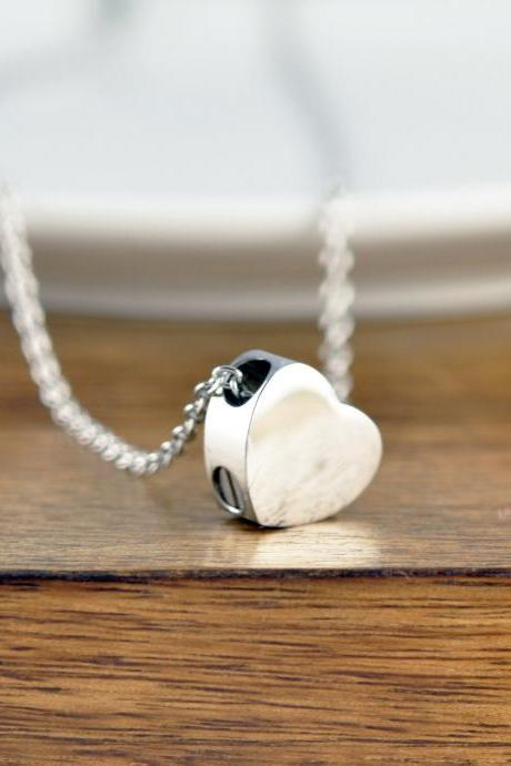 Silver Heart Necklace, Cremation Jewelry, Ash Jewelry, Heart Cremation Pendant, Urn Necklace For Ashes, Cremation Necklace