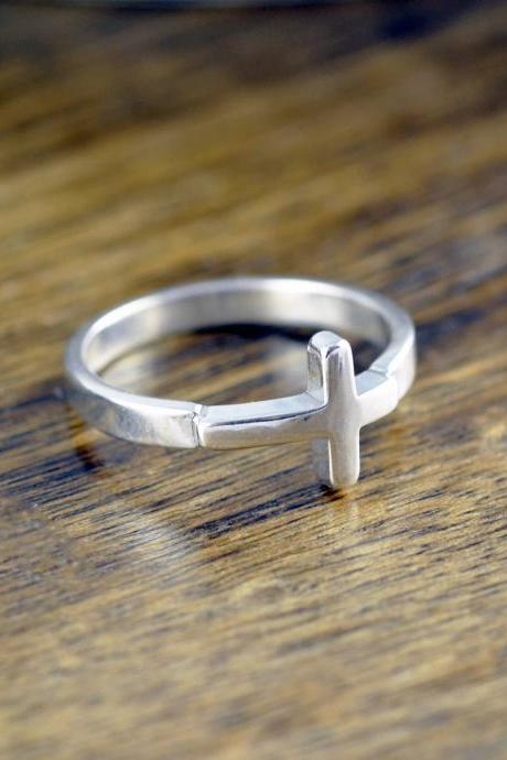 Cross Ring Sterling Silver - Sideways Cross Ring - Confirmation Jewelry - Crucifix Ring - Womens Rings - Gift For Her - Statement Ring
