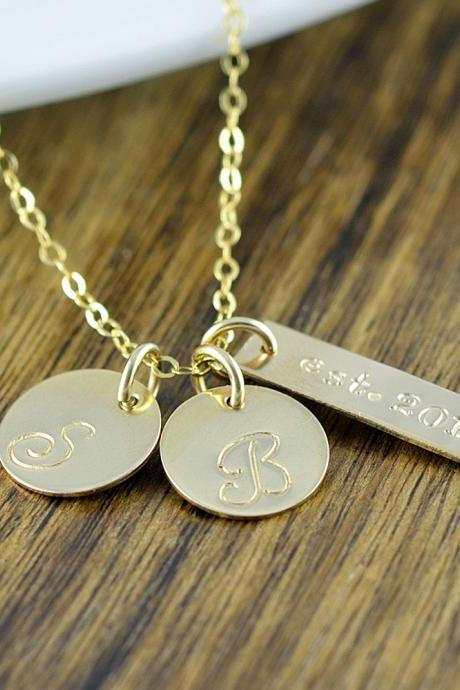 Gold Name Necklace, Name Tags, Name Plate, Hand Stamped Necklace, Gift for Mother, Gift for Wife, Mothers Necklace, Mothers Jewelry