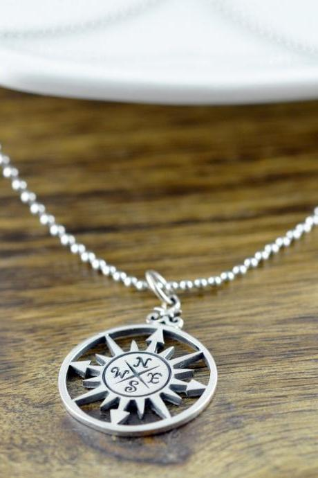 Mens Compass Necklace, Compass Necklace, Boyfriend Gift, Graduation gift, Best Friend Gift, Compass Charm, Friendship Necklace, Mens Gift