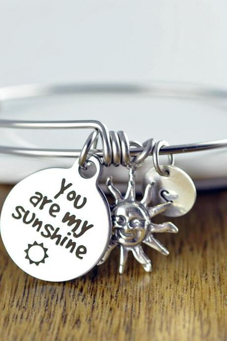 You are my Sunshine Bangle Bracelet, Engraved Bracelet, You are my Sunshine Jewelry, Sunshine Gift, Gift for Mom, Mothers Jewelry