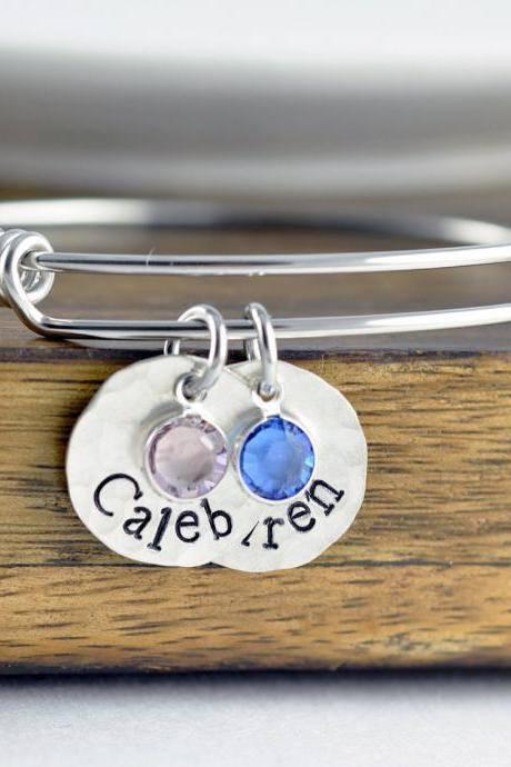 Mom Bangle Bracelet - Personalized Birthstone Name Charm Bracelet - Hand Stamped Bangle Bracelet - Personalized Bracelet - Silver Bracelet