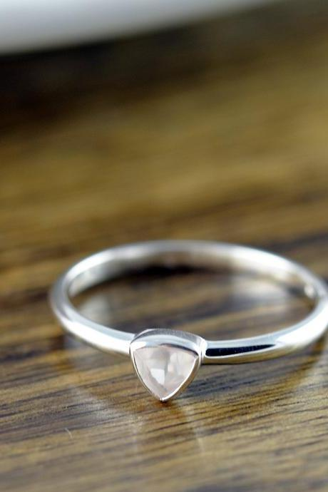 Sterling Silver Trillion Rose Quartz Ring - Rose Quartz Ring - Statement Ring - Gemstone Ring - Trillion Ring - Stacking Rings