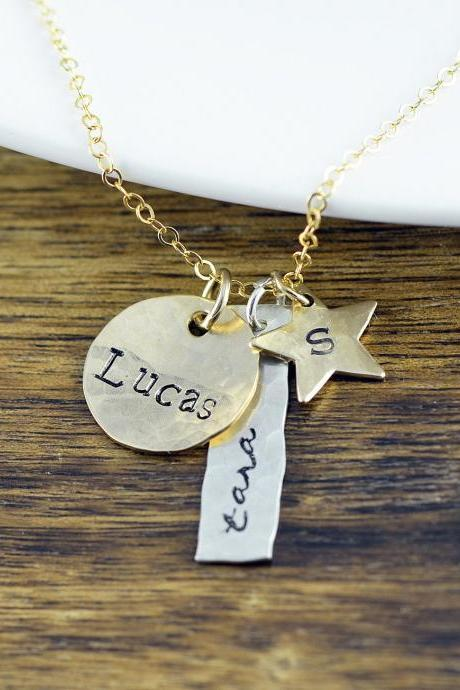 Mother's Necklace, Mom Jewelry, Kids Name Necklace, Name Necklace, Custom Stamped Necklace, Mothers Jewelry, Hand Stamped Necklace