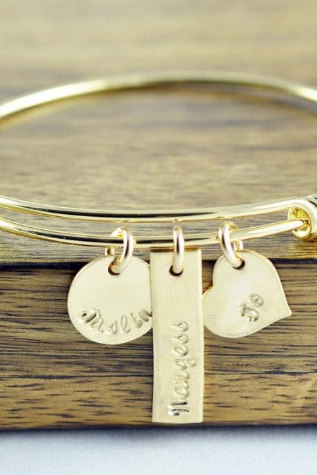 Hand Stamped Bangle Bracelet - Gold Bracelet Bangle - Personalized Bracelet - Gold Bangle Bracelet - Name Bracelet - Mothers Bracelet