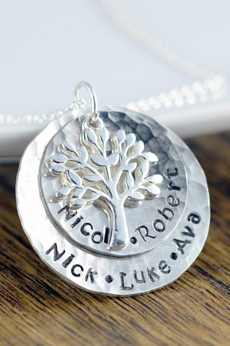 Silver Family Tree Necklace - Mother's Necklace - Tree of Life Necklace , Kids Name Necklace, Mothers Day Gift, Grandmother Necklace