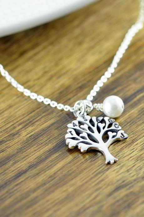 Tree of Life Necklace, Family Tree Jewelry, Grandmother Gift, Mothers Day Gift, Initial Necklace, Family Tree Necklace, Silver Necklace