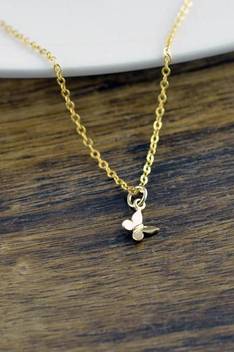 Tiny Gold Butterfly Necklace, Butterfly Necklace, Butterfly Charm Necklace, Butterfly Jewelry, Dainty Jewelry, Best Friends Gift, Wife Gift