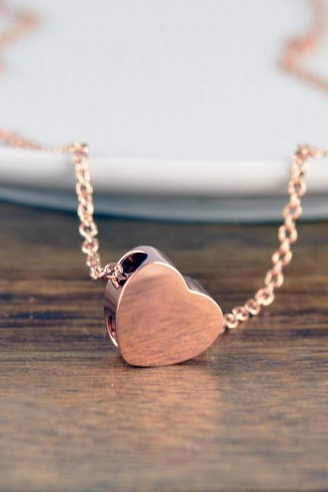 Rose Gold Heart Necklace, Cremation Jewelry, Ash Jewelry, Heart Cremation Pendant, Urn Necklace For Ashes, Cremation Necklace