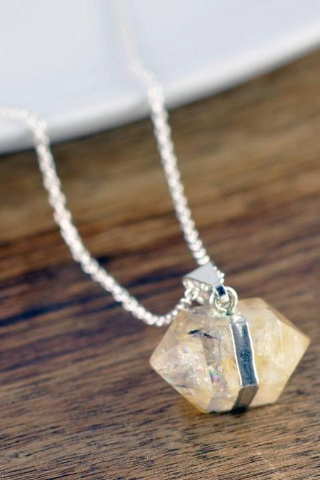 Citrine Crystal Necklace, Citrine Quartz Pendant, Crystal Jewelry, Citrine Jewelry, Gift for Wife, Gift for Girlfriend, November Birthstone