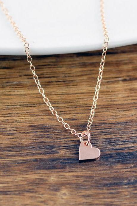 Tiny Rose Gold Necklace, Rose Gold Jewelry, Heart Necklace, Love Necklace, Charm Necklace, Bridesmaid Necklace, Bridesmaid Gift