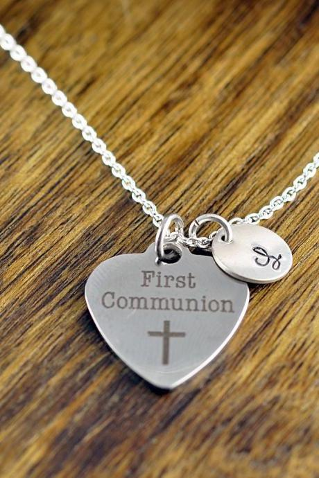 First Communion Necklace, Communion Gift, Girls First Communion Gift, Religious Jewelry, Personalized Communion Necklace, Engraved Charm