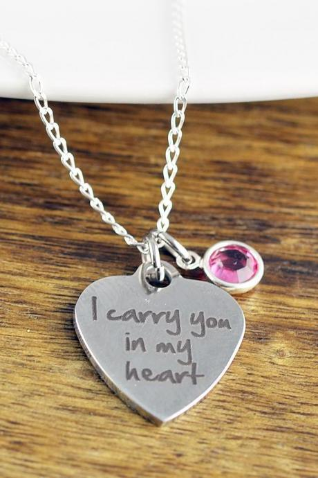 I Carry You In My Heart - Remembrance Jewelry - Memorial Necklace - Sympathy Gift - Loss of Child Gift, Miscarriage, Personalized Necklace